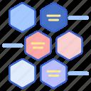 alternating, hexagons, infographic icon