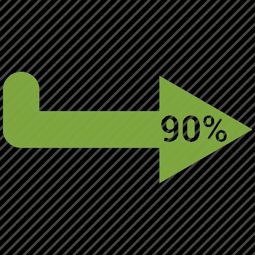 arrow, bar, chart, ninty, stats icon