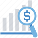 dollar, graph, magnifier, money, search, statistics icon