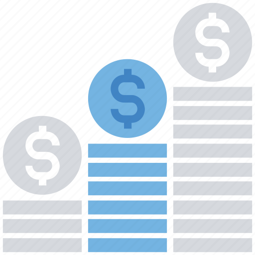 Coins, coins graph, currency, money, pile of coins, revenue, savings icon - Download on Iconfinder