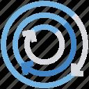 arrows, circle, comparison, diagram, statistics icon