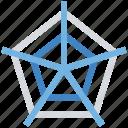 data, diagram, graph, pentagon icon