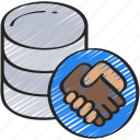 data, hand, information, integrity, security, shake icon