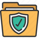 folder, information, protection, secure, security, shield icon