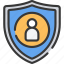 information, protection, security, shield, user icon