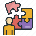 person, problem, puzzle, solution, solving icon