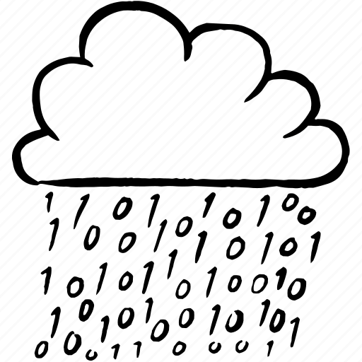 big data, binary data, cloud, connected, data, hand drawn icon