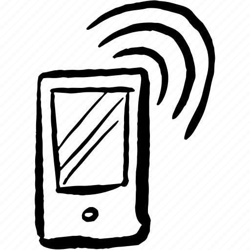 call, communication, device, hand drawn, mobile, signal, wi-fi icon