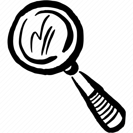 analyse, find, hand drawn, look, magnifying glass, search, spotlight icon