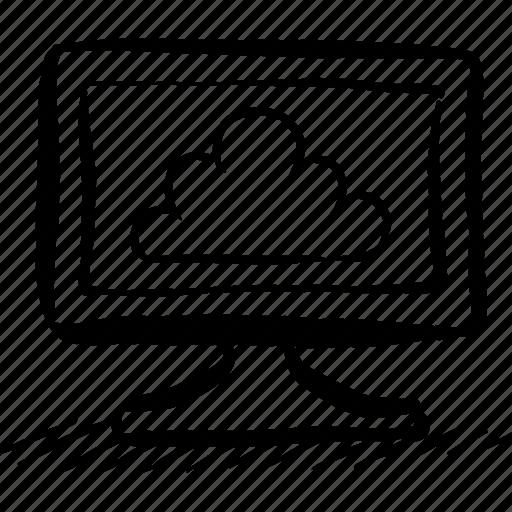 apple, cloud, computer, hand drawn, imac, pc, screen icon