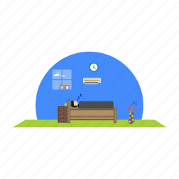 bed, flower, pot, showcase, sleeping icon