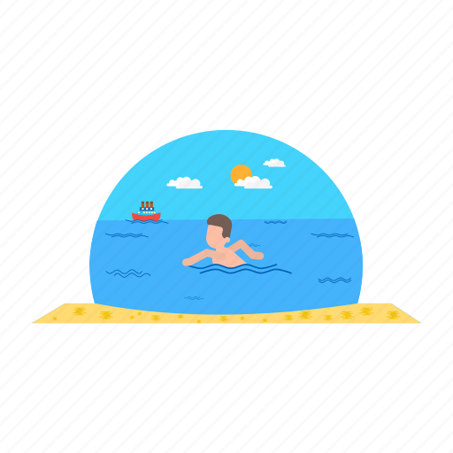 boat, sea, swimming, water, waves icon