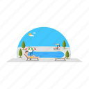 chilling, people, pool, swimming, trees, umbrella icon