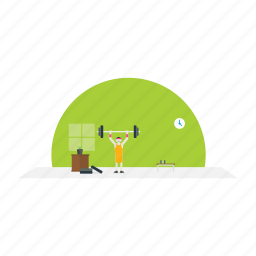 exercise, gyming, public, rod, table icon