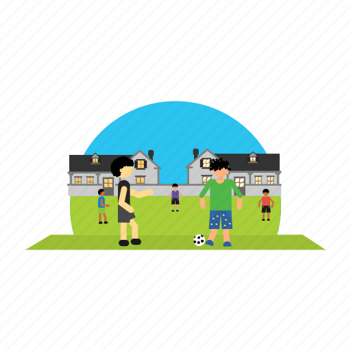 boy, children, football, house, playing icon