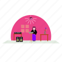 girl, lady, music, singing, song, speaker, table icon