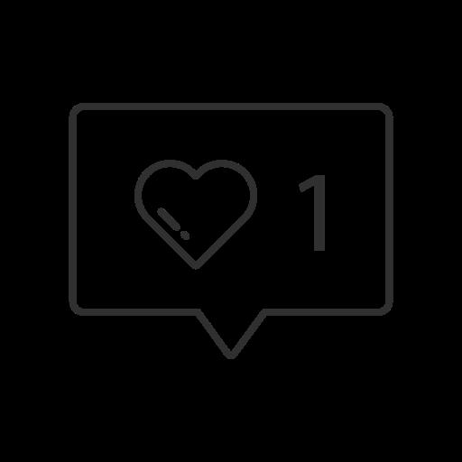 heart, like, notification, one like icon