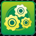 engine, gears, options, settings, tools