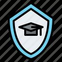 graduation, hat, shield, insurance, protection