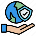 hand, world, shield, protection, insurance