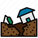 buildings, cracked, disaster, earthquake, ground, homes, houses, nature, security icon