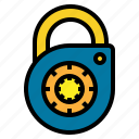 and, lock, locked, padlock, secure, security, tools, utensils icon