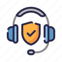 call center, guard, headphone, insurance, protection, shield, support icon