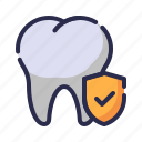 dental insurance, dentist, guard, insurance, protection, shield, tooth icon