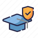 education insurance, graduation cap, guard, insurance, protection, shield, study icon