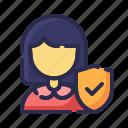 customer, female insurance, guard, insurance, protection, shield, women icon