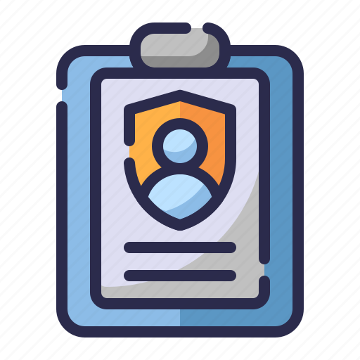 document, guard, insurance, personal data, profile information, protection, shield icon