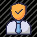 customer service, guard, insurance, man, protection, salesman insurance, shield icon