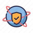 globe, guard, insurance, protection, secure, shield, world wide protection icon