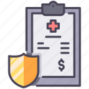care, health, hospital, insurance, medical, paper, report icon
