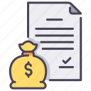 claim, contract, document, insurance, money, paperwork, safety icon
