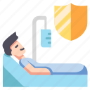 bed, care, hospital, insurance, medical, patient, safety icon