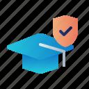 education insurance, graduation cap, guard, insurance, protection, shield, study icon