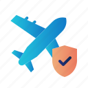 flight insurance, guard, insurance, plane insurance, protection, shield, travel icon