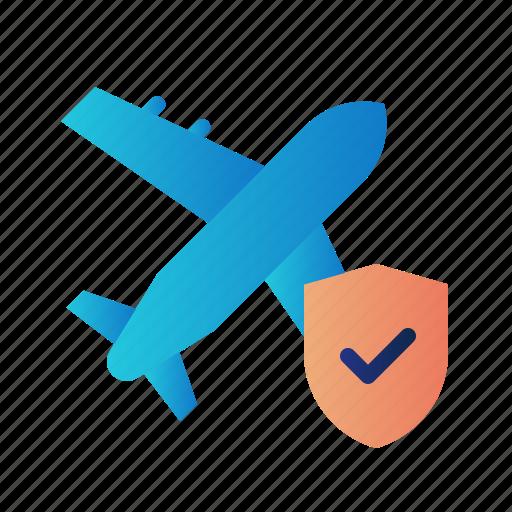 flight insurance, guard, insurance, plane insurance, protection, shield, travel icon