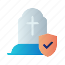 death, die, funerals insurance, guard, insurance, protection, shield icon
