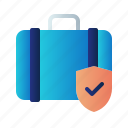 baggage insurance, flight insurance, guard, insurance, protection, shield, travel insurance icon