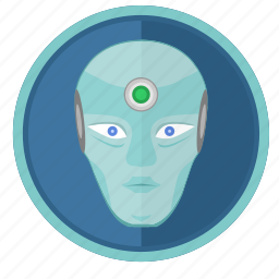face, robot, round, skin icon