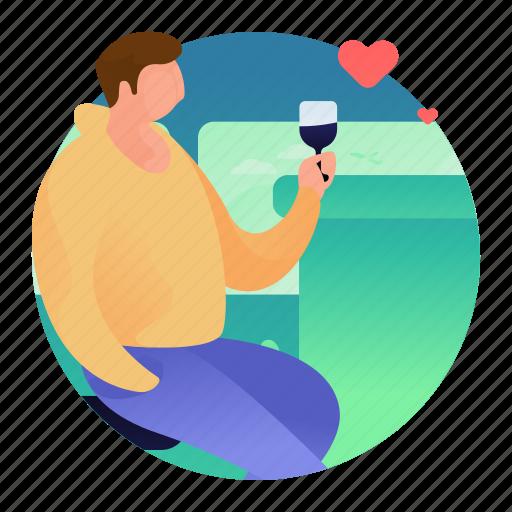 bar, beverage, date, drink, man icon
