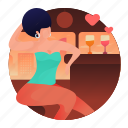 date, woman, bar, drink, beverage