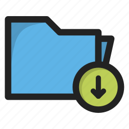 arrow, down, download, downloads, folder, package icon