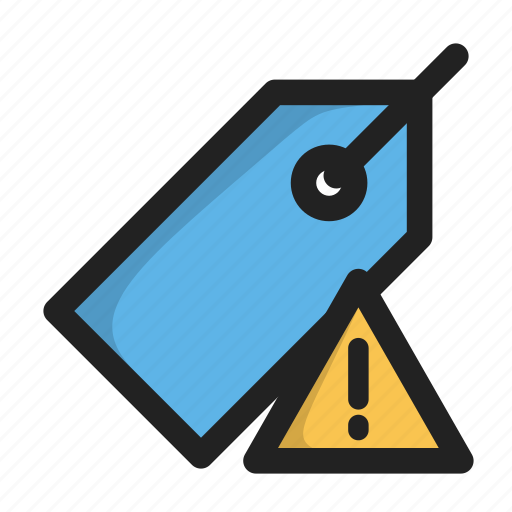 error, price, tag, warning icon
