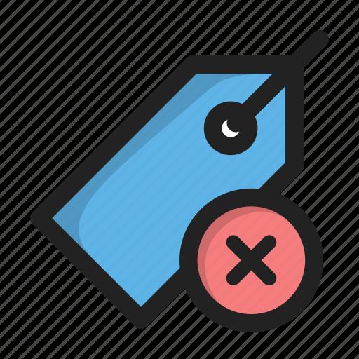badge, close, cross, delete, price, tag icon