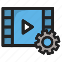 movie, paly, player, setting, settings, tools, video icon