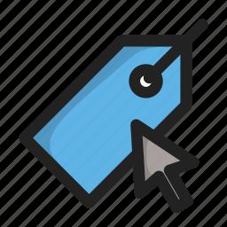 click, cursor, hover, price, tag icon