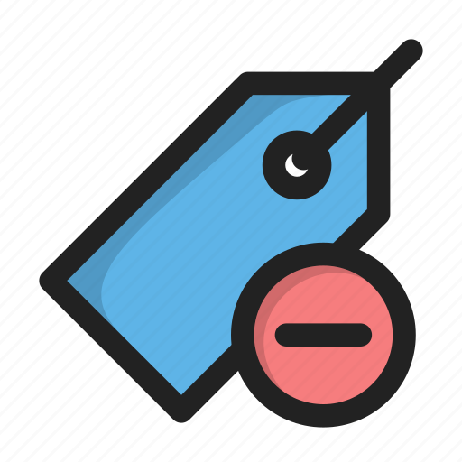 delete, hover, minus, price, tag icon